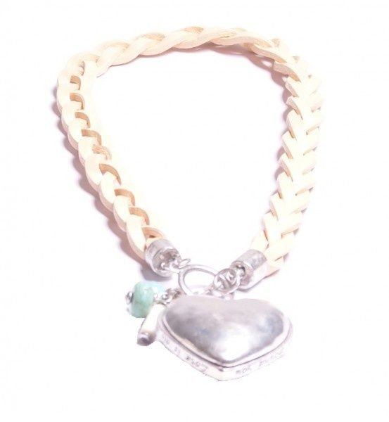 Grove zalmkleurige ketting met zilveren hart
