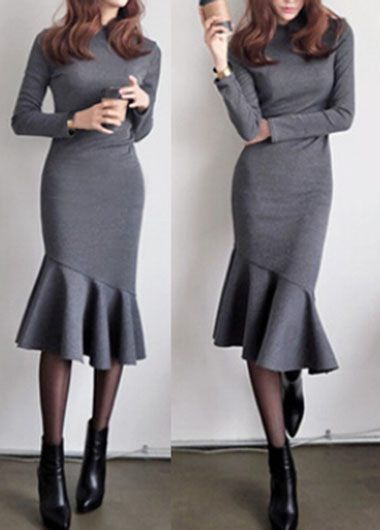 Grey Long Sleeve Round Neck Mermaid Midi Dress on sale only US$33.00 now, buy cheap Grey Long Sleeve Round Neck Mermaid Midi Dress at lulugal.com
