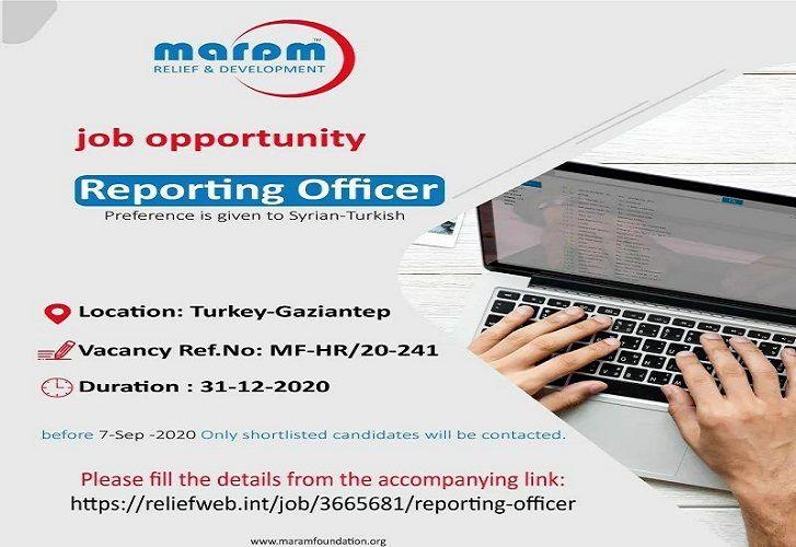 تعلن مؤسسة مرام Maram Foundation برفد كوادرها بــ Position Reporting Officer Preference Is Given
