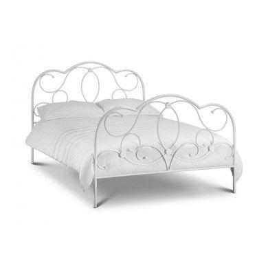 White metal Arabella bed with pretty swirling metal hadboard