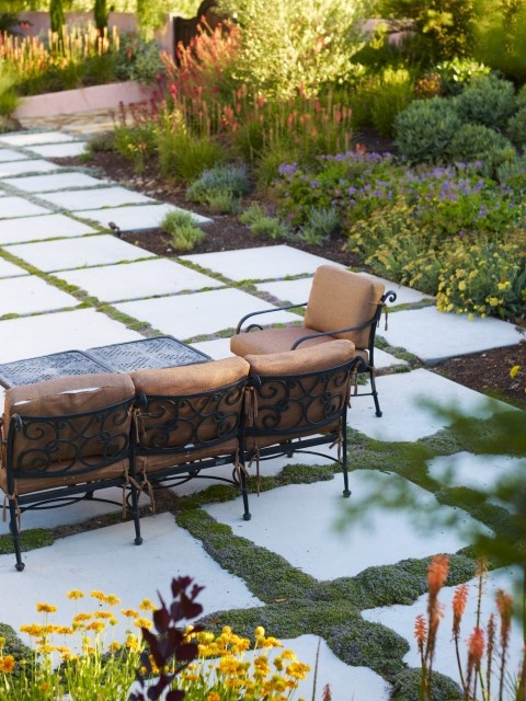 patio ideas! love these big cement squares.