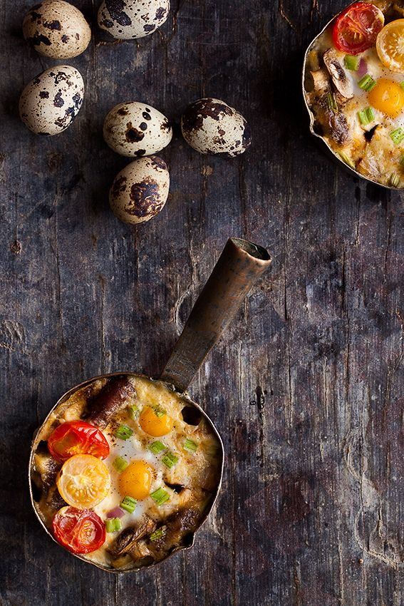 Sausage, mushroom and quail egg bake - Breakfast Recipes from All Around the World