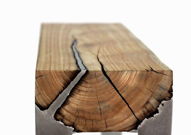 Molten Aluminium Penetrating a Split in the Timber