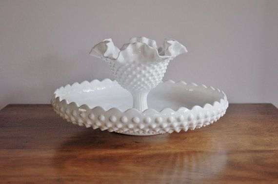 Hobnail Milk Glass Chip and Dip Set Fenton by CobblestonesVintage