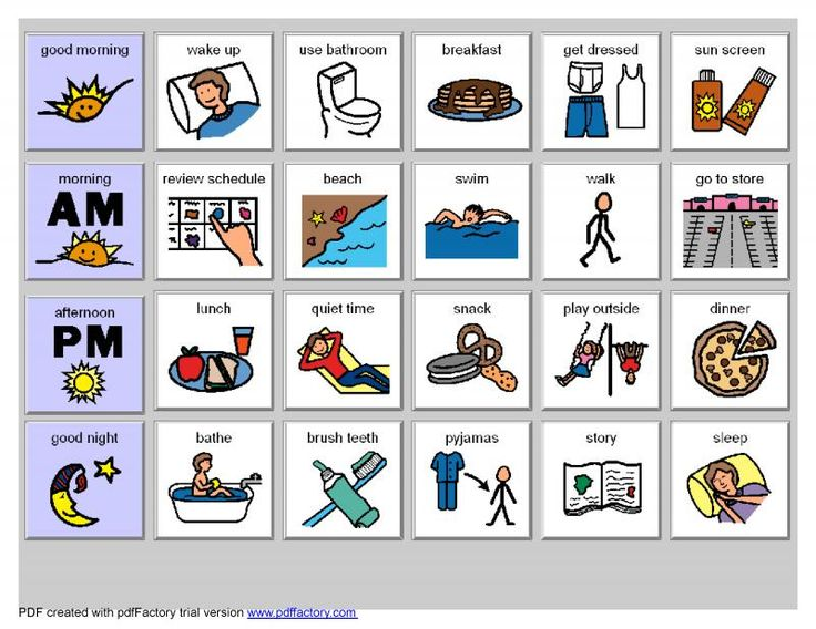 Picture icons for children with autism.