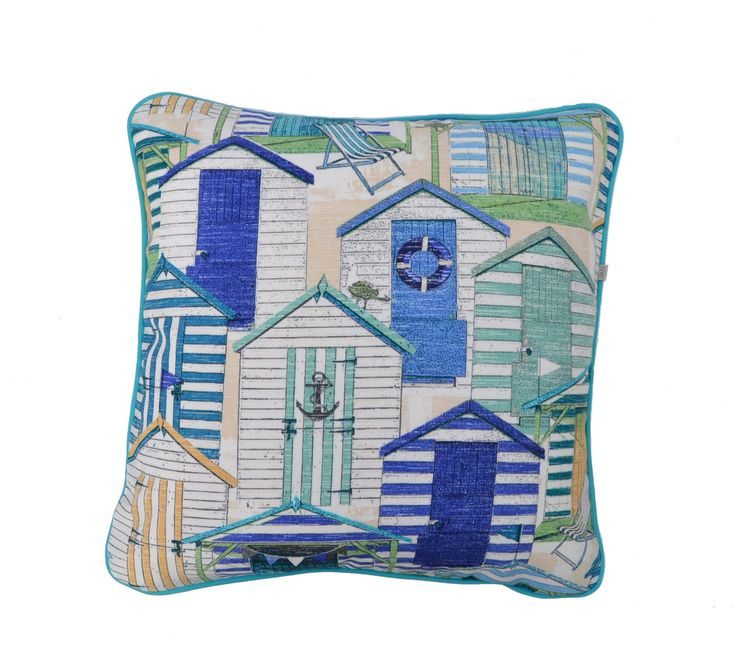 Beach Houses . Coastal Cushion . Hamptons . Outdoor Pillows . Blues .By the Sea by JulieAlvesDesigns on Etsy