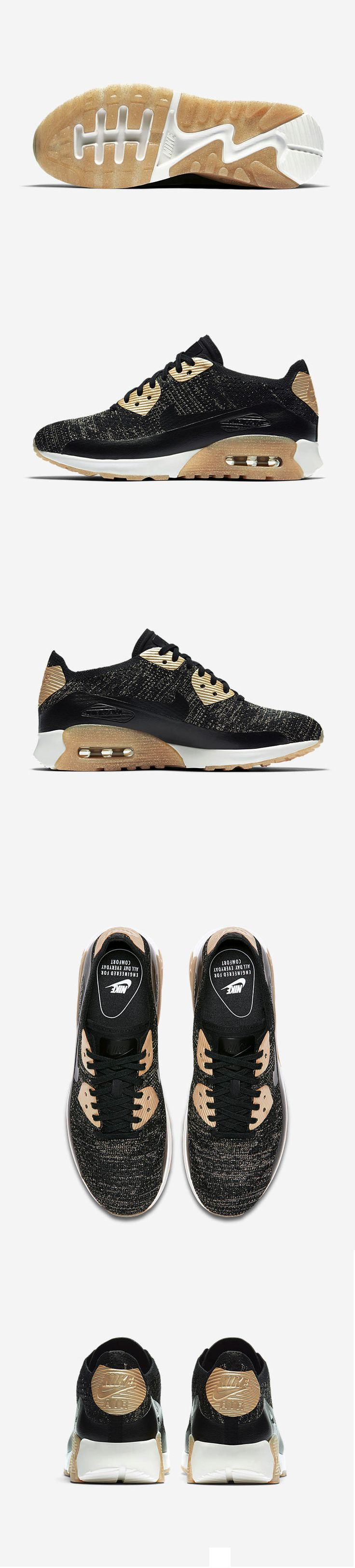 "#DAMSKIE #NIKE #AIR #MAX 90 #ULTRA 2.0 #FLYKNIT ""METALLIC – #BLACK / #GOLD"