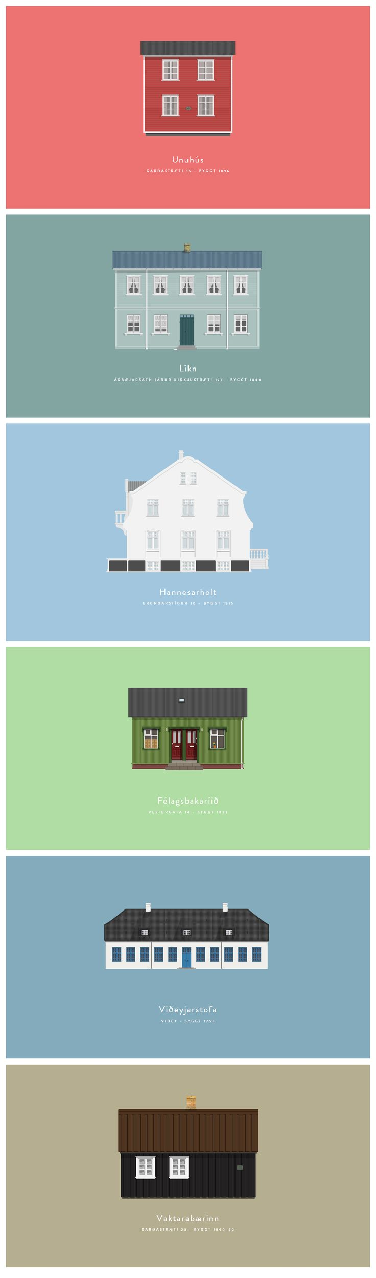 Houses of Reykjavik: Reykjavik Posters, Iceland Houses, Houses Illustrations, Historical Houses, Del Window, Colour Illustrations, Posters Art, Historical Posters, Illustrations Houses