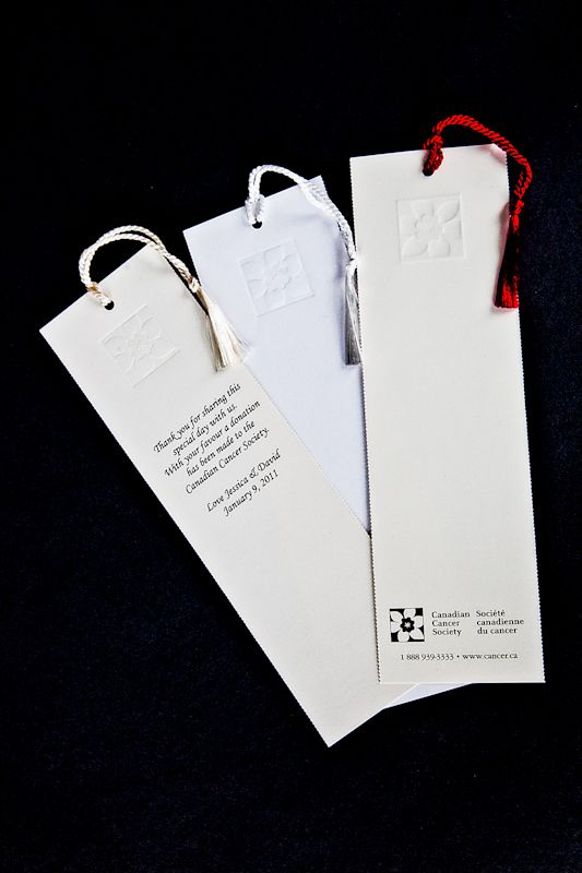 A special way for guests to remember your special day, these bookmarks can be placed at each table setting. #wedding