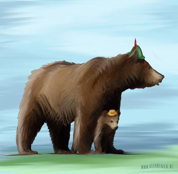 mama beer & kleine beer | illustratie | geboortekaartje | babykaartjes - mama bear & litlle bear