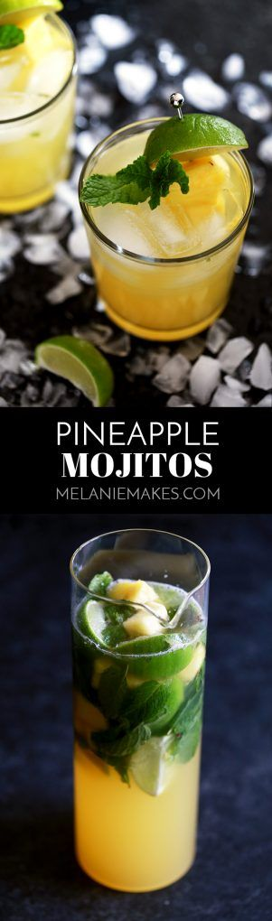 These six ingredient Pineapple Mojitos couldn't be easier and makes four drinks with just 10 minutes of prep time. Fresh mint and limes are muddled together before being doused in pineapple juice, simple syrup, white rum and club soda. Served over ice and garnished with even more pineapple and mint, you'll feel like you're on a tropical vacation without leaving home!