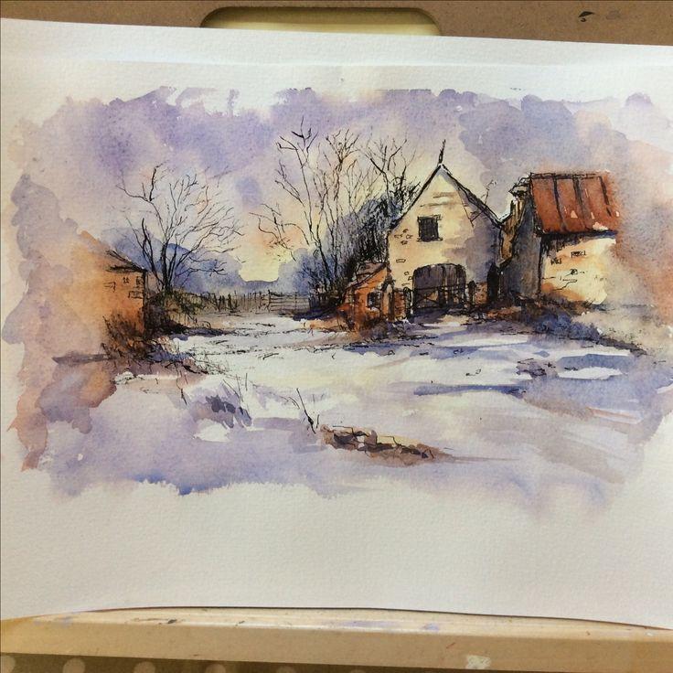 'Winter Barn' watercolour by Jan Lewin
