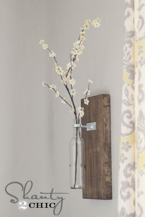 Love this!: Projects, Wall Decor, Idea, Shanty 2 Chic, Diy Wall Vase, Bottle Vase, Wine Bottle Wall, Wine Bottles, Flower