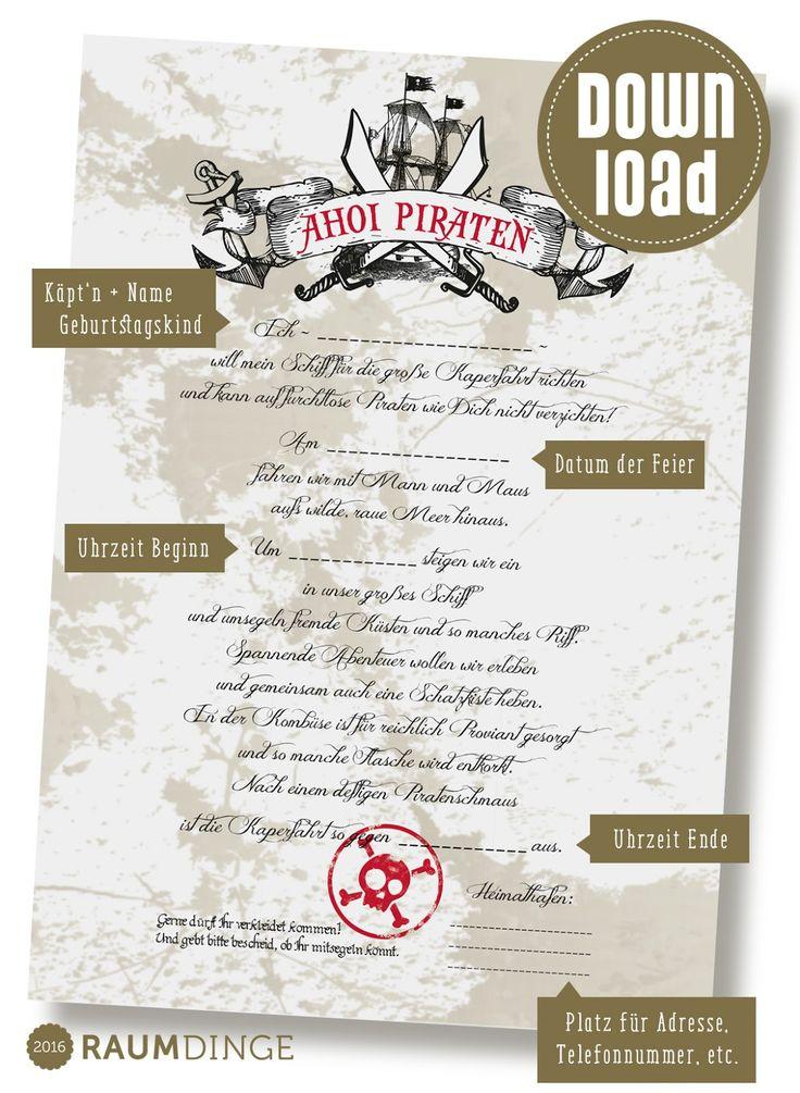 einladungskarten kindergeburtstag piraten - vorlagen, Einladung