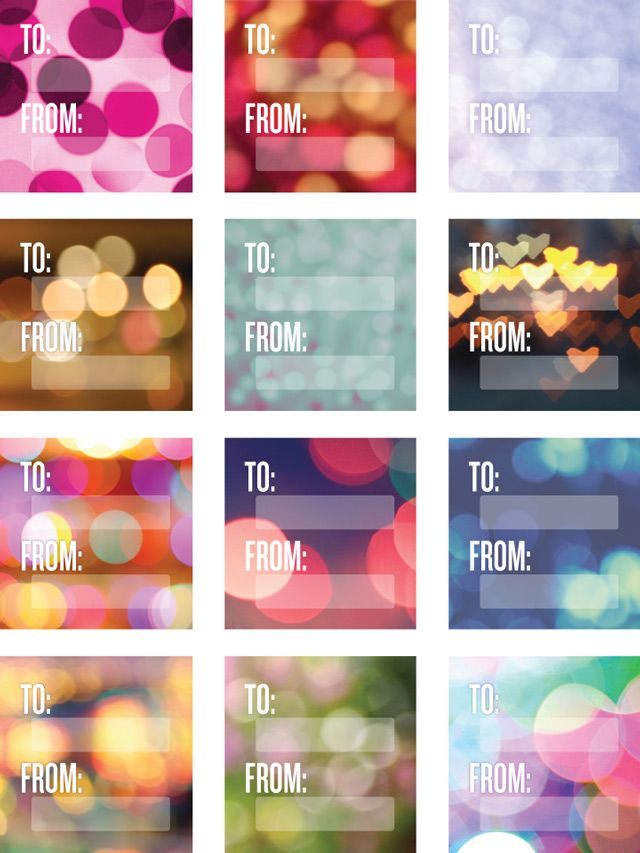 Free printable Bokeh gift tags. Fits square Avery labels.
