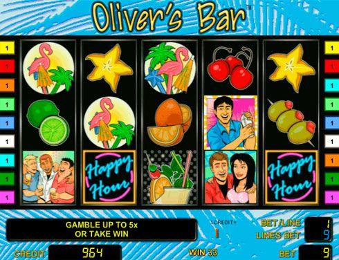 Игровой автомат Oliver`s Bar на деньги в онлайн казино Вулкан.  В игровом автомате Oliver`s Bar вы увидите приветливого бармена с реальными денежными подарками и освежающими коктейлями. Играть в онлайн казино Вулкан в этот аппарат очень интересно, так как он имеет необычн�
