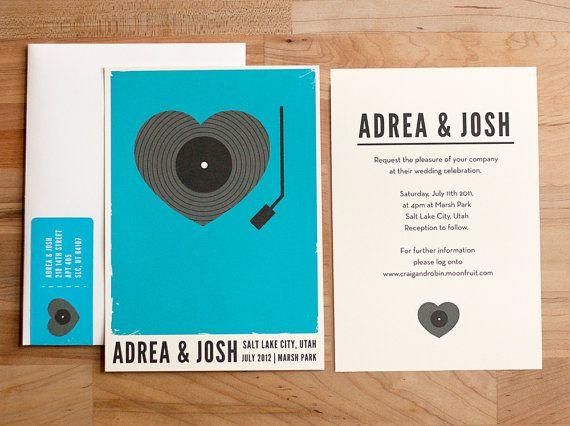 Heart record player invitation