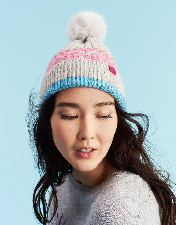 Elsa Fairisle Fairisle Pom Pom Hat , Size One Size | Joules UK