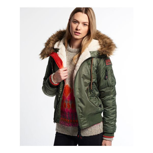 Superdry SD-3 Winter Bomber Jacket ($175) ❤ liked on Polyvore featuring outerwear, jackets, green, military fashion, green jacket, superdry jacket, black military jacket and jersey jacket