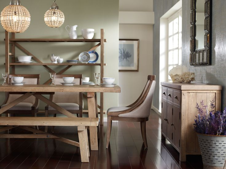 This natural finish collection made of ecofriendly, reclaimed pine makes dining a casual affair.