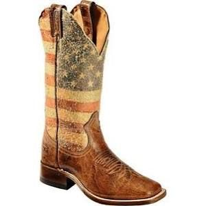 Boulet Western Boots Womens Cowboy Leather Flag Distressed Brown 3187