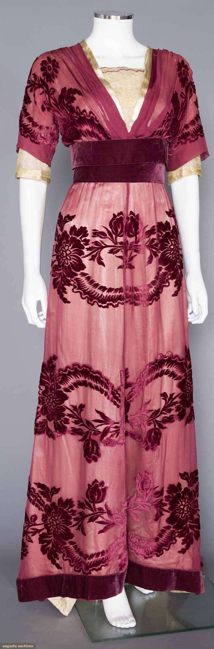 Circa 1908 plum velvet cut to chiffon gown by Charles Worth, Paris. Via Augusta Auctions.