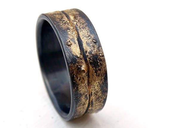 Viking Wedding Band Mens Molten Wedding Ring Gold Silver Etsy Wedding Rings Vintage Cool Rings For Men Mens Wedding Bands