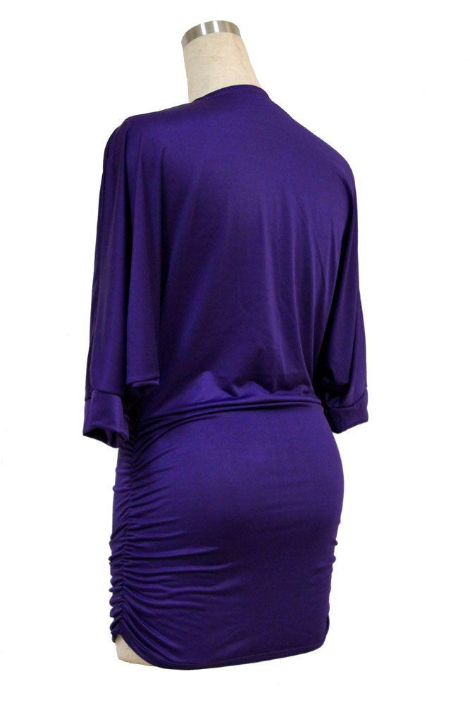 Low Cut Billow Purple Dress