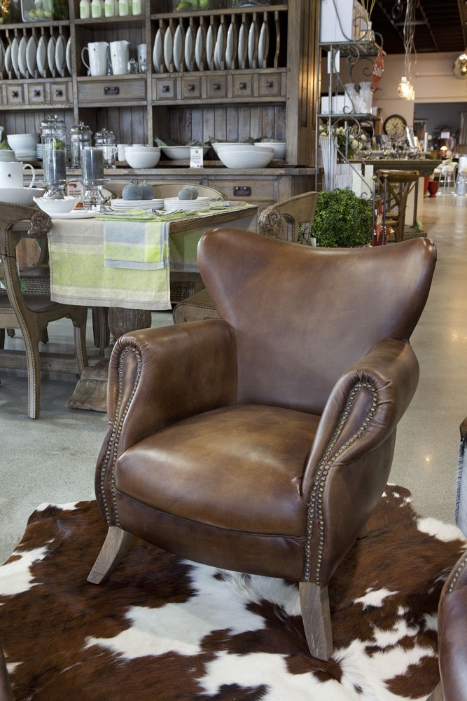 Antique Whisky and Weathered Oak Scholar Armchair - Trilogy Concept Stores