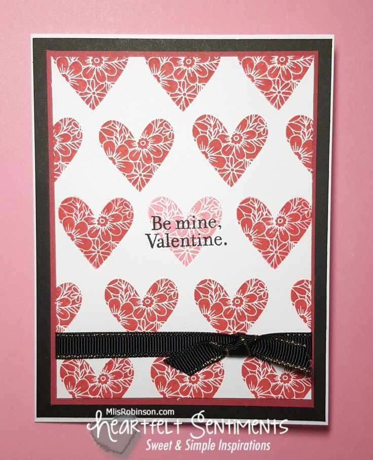 Be My Valentine Card: Close To My Heart Stamp of the Month Adore You.  Pomegranate and Blossom and repeatedly stamped the heart image to create the background.