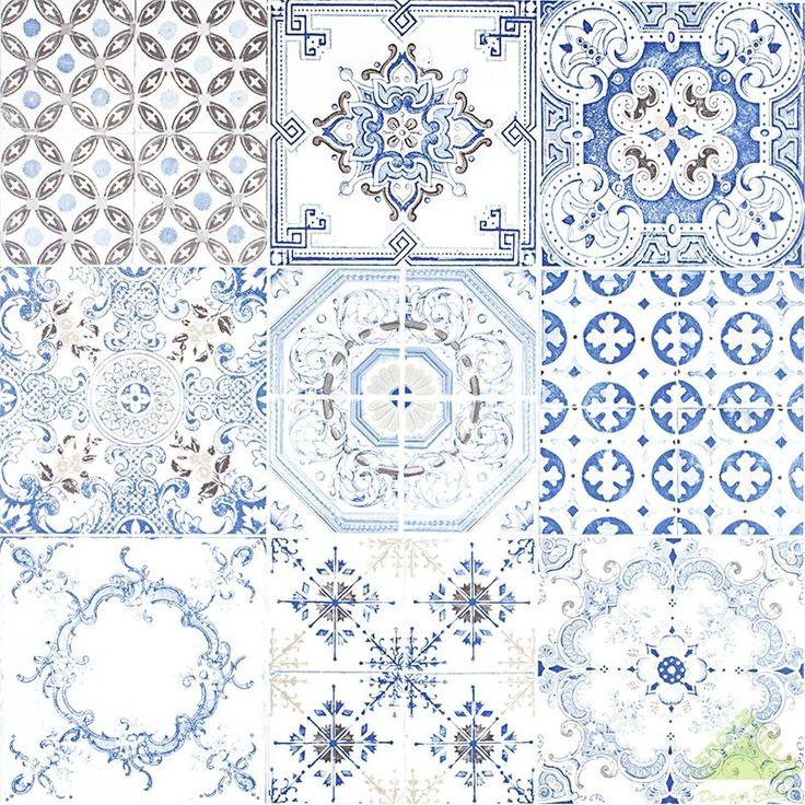 Обои виниловые 0,53х10 м, мозаика, синий, Обои декоративные - Каталог Леруа Мерлен