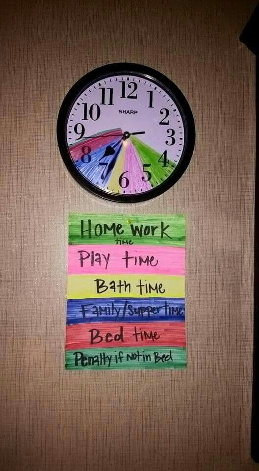 A great visual schedule for at home and at school. Color code the clock for students to know what is coming next and for how long this activity will be going on.
