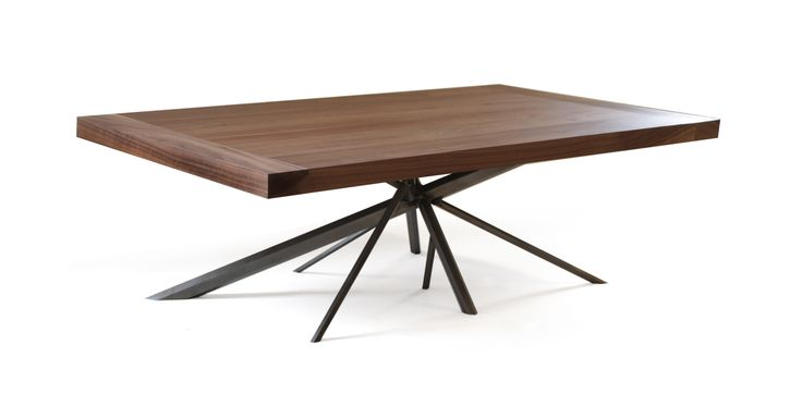 Kaos coffee table made of Walnut and hexagon shaped steel