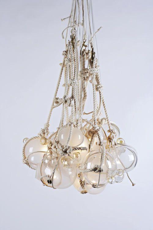 Ropes and lights. Lindsey Adelman via design milk