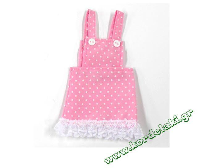 Πουγκί φούστα πουά ροζ για μπομπονιέρες γάμου και βάπτισης