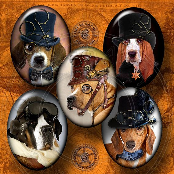 Steampunk Dogs - Digital Collage Sheet on Etsy. Now these are some stylish dogs in hats!