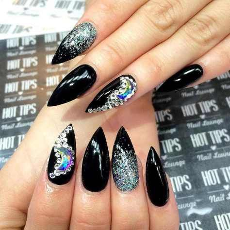 pointed nail art designs and ideas 2017