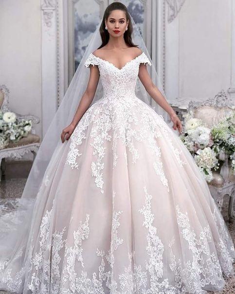 Jeweled & Broderad Blond A-Line Bröllopsklänning-113211 Anita