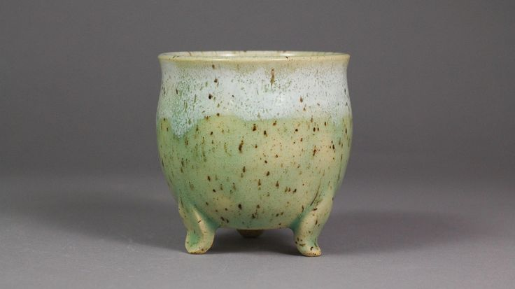 """Ocean Jade 3.125"""" Neofinetia or Mini Orchid Pot for Sale by Canadian Artist Ashley Keller"""