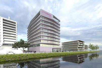 Danzigerkade 14introduceert een nieuw soort gebouw in de Houthavens. Aluminium, beton, glas en natuursteen geeft dit gebouw een eigen signatuur.