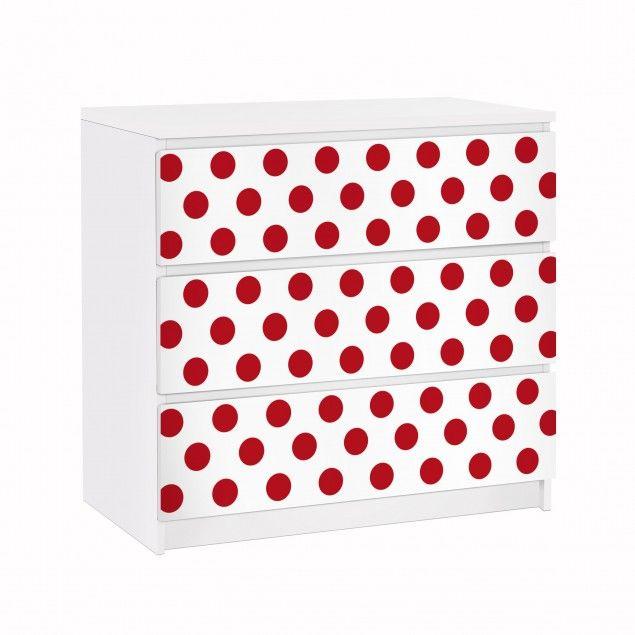#Möbelfolie für #IKEA #Malm #Kommode - Klebefolie No.DS92 Punktdesign Girly Weiß #skandinavisch #schlicht #dekorativ #stilvoll #wohnen #schweden #wohnstil #wohnideen #hell #freundlich #natürlich #Einrichtungsstil