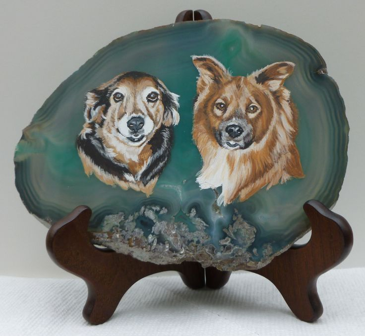 Shadow and Rudy, Acrylic on Agate