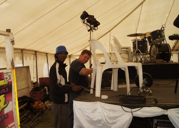 ZAMDELA - Our technical team busy setting up!