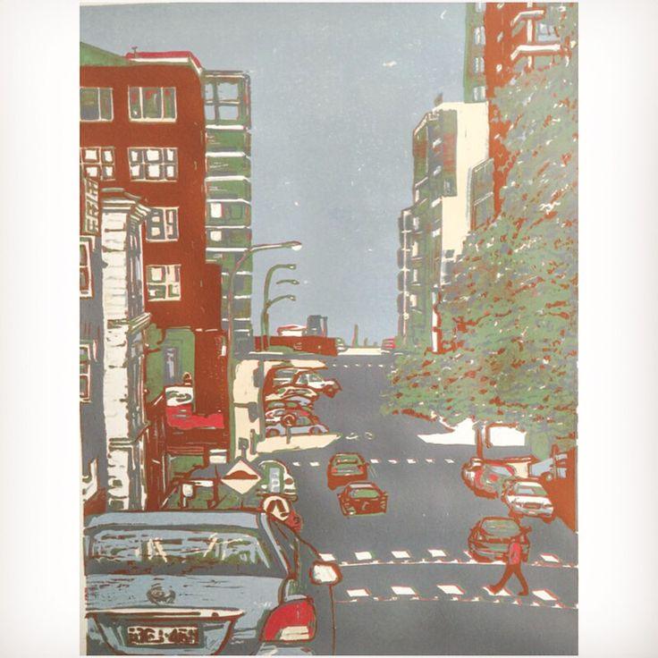 Latest colour in this series of reduction linocuts