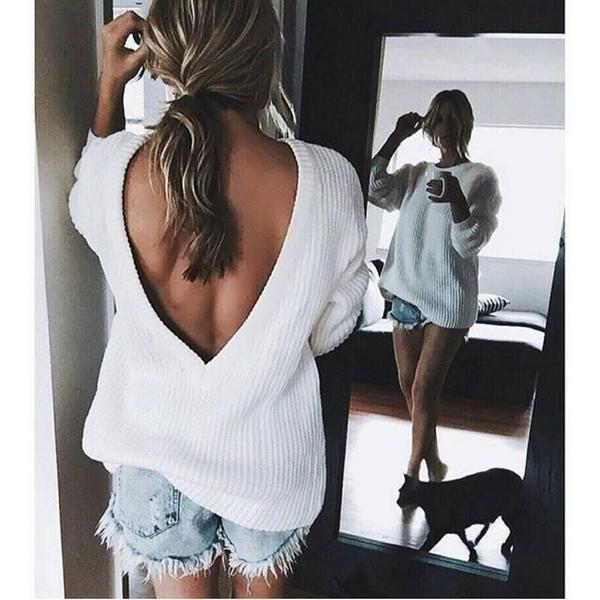 Open V-back Sweater Loose Pullover Women Basic Casual Knitwear