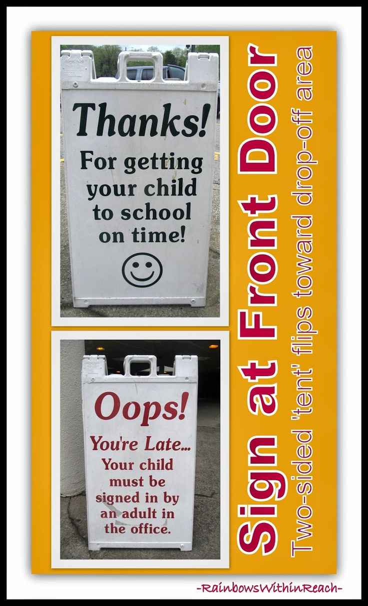 """Front Door """"Reversible"""" Sign for School: On Time vs.Tardy via RainbowsWithinReach Featured in End-of-Year Bulletin Board RoundUP"""