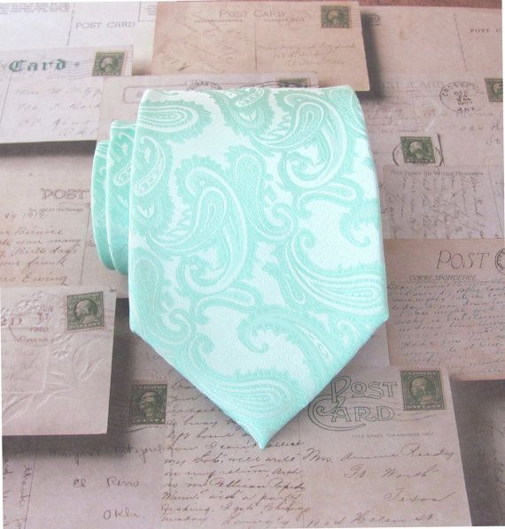 Mint Green Tie. Necktie Pastel Mint Green Paisley by TieObsessed
