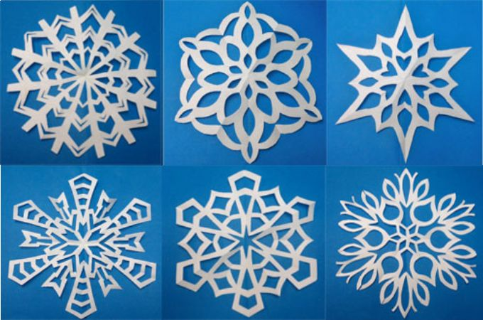 24 Christmas Crafts for Kids » Paper Snow Flakes, lots of different patterns