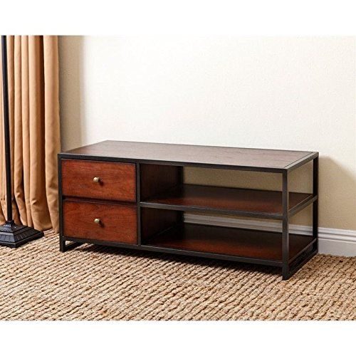 Abbyson Living Winston Wood 42-inch TV Stand. Dimensions: 42W x 17D x 18H in. Wood construction. Coffee brown finish with black trims. Includes 2 drawers and 2 shelves. Fits most TVs up to 46 in.