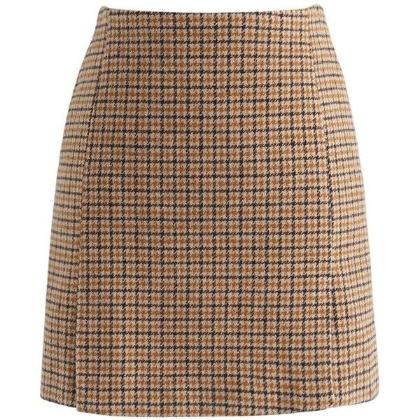 Chicwish Groovy Houndstooth Wool-Blend Skirt in Mustard ($40) ❤ liked on Polyvore featuring skirts, yellow, brown houndstooth skirt, wool blend skirt, houndstooth skirt, chicwish skirt and yellow skirt